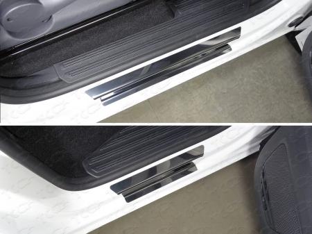 Volkswagen Amarok 2016-Накладки на пороги (лист зеркальный)